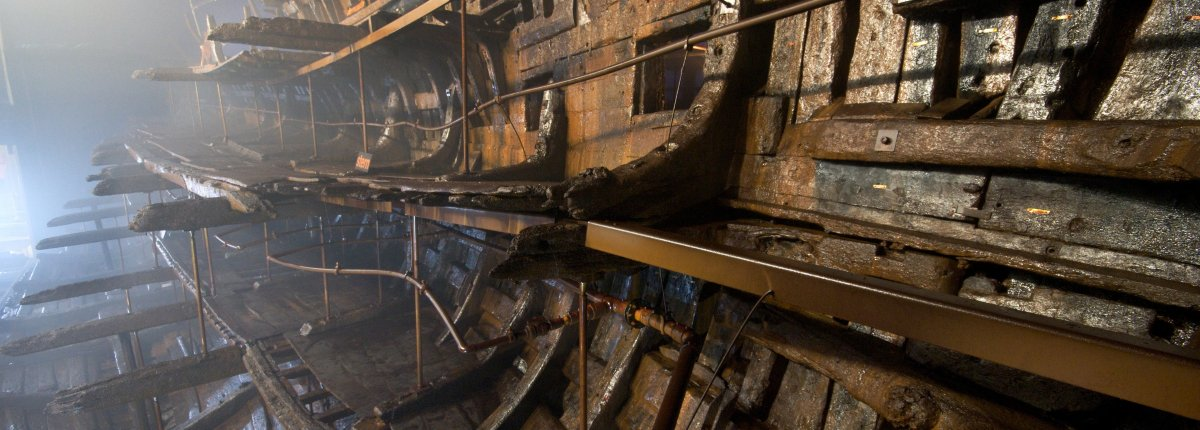 Mary Rose ship under preservation